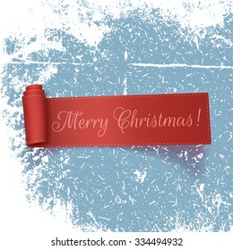 Realistic curved red Ribbon with Merry Christmas Text on the Ice and Snow. Vector Illustration