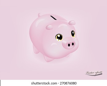 realistic cute pink piggy bank on pink background vector