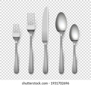 Realistic cutlery. 3D metallic forks and knives or spoons. Isolated metal glossy objects for table setting on transparent background. Top view of silverware set. Vector flatware from stainless steel
