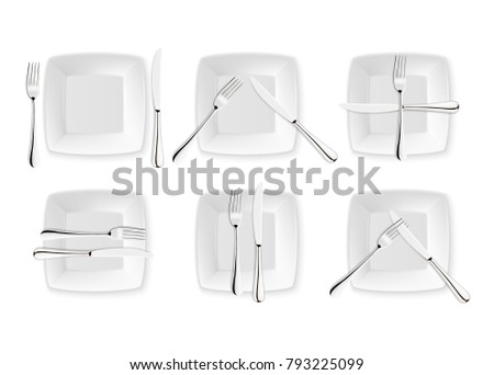 Realistic Cutlery Signs Table Etiquette Vector Stock Vector (Royalty