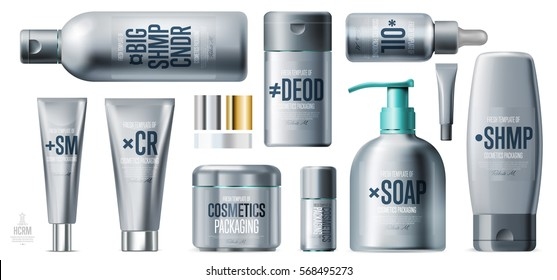 Realistic daily beauty care cosmetic product plastic container set vector illustration. Lotion, tonic, gel, shampoo, soap, cream 3D cosmetics silver tube. Modern cosmetic series packaging template