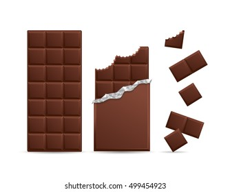 Realistic Dark Chocolate Bar Bitten with Pieces. Vector illustration for Packaging blank or Other Food Design Elements. Package Graphic