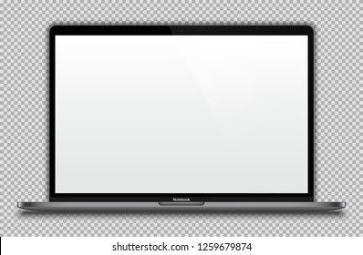 Realistic Dark Grey / Black Notebook with Blank Screen Isolated. 15 inch Laptop. Can Use for Project, Presentation. Blank Device Mock Up. Separate Groups and Layers. Easily Editable Vector. EPS 10.