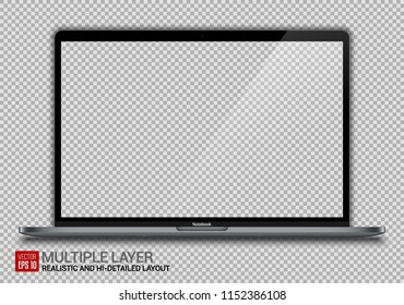 Realistic Dark Grey Notebook with Transparent Background Isolated. 15 inch Scalable Laptop. Can Use for  Project, Presentation. Blank Device Mock Up. Separate Groups and Layers. Easily Editable Vector