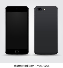 Realistic Dark Grey Smartphone with Blank Screen isolated on Background. Front and Back View For Print, Web, Application. High Detailed Device Mockup Separate Groups and Layers. Easily Editable Vector