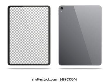 Realistic dark grey tablet pc isolated on white background. Vector illustration.