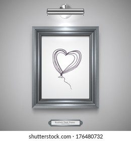 Realistic, Dark Silver Wood Frame for Picture, Rectangle Wood Border and Lamp on a Wall.