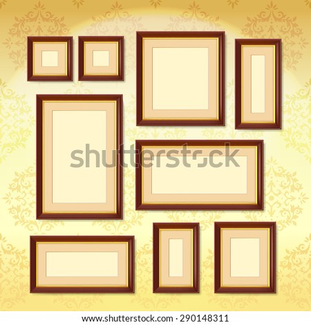 Realistic Dark Wood Picture Frames Set Stock Vector Royalty Free