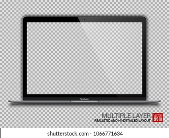 Realistic Darkgrey Notebook with Transparent Screen Isolated. 12 inch Laptop. Open Display. Can Use for Project, Presentation. Blank Device Mock Up. Separate Groups and Layers. Easily Editable Vector.