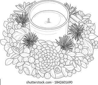 Realistic decorative candle with pine cones and berries sketch template. Cartoon winter, New Year vector illustration in black and white, children's story book, fairytail. Print for fabrics