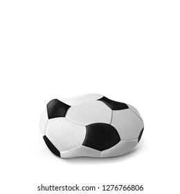 Realistic deflated football, soccer ball isolated on white background. Vector illustration of the deflated ball. Classic design
