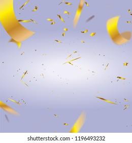 Realistic defocused golden confetti isolated on purple background