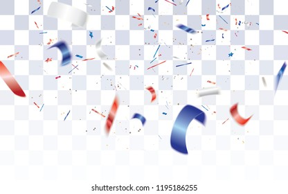 Realistic defocused white,red and blue confetti isolated on transparent checkered background