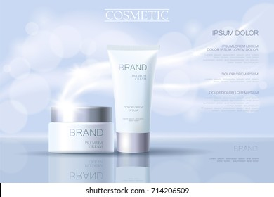 Realistic delicate cosmetic ads banner template. 3d detailed light blue tube metallic silver design commercial promotional element. Defocused blurry glowing wave background vector illustration art