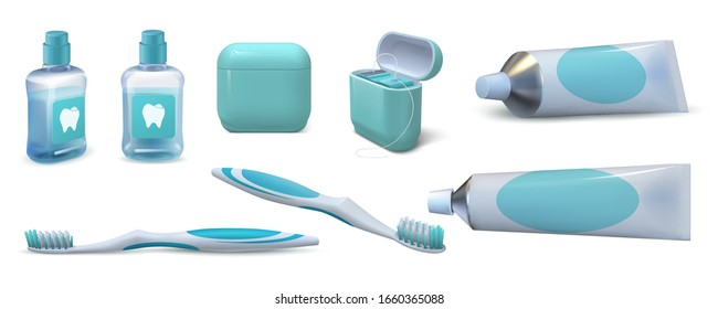 Realistic dental care. 3D toothpaste in tube, pair of toothbrushes, mouthwash and dental floss. Vector set of isolated oral hygiene products for cleaning the oral cavity