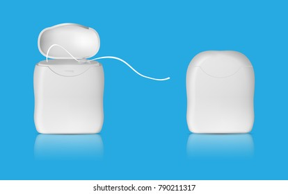 Realistic dental floss template. Closed and open case. Isolated vector.