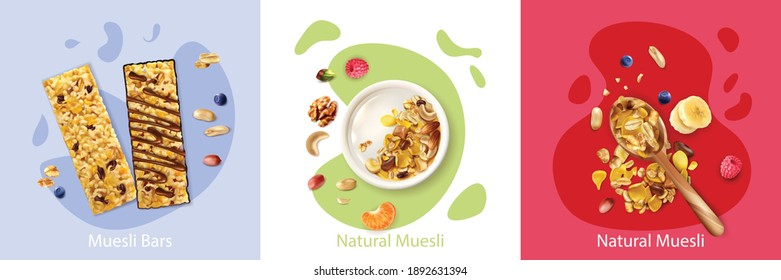 Realistic design concept with natural fruit and berry muesli isolated vector illustration