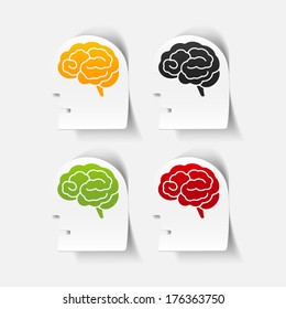 realistic design element: head face brain. Vector Illustration