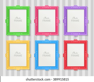 Realistic design photo frames on white background. Decorative template for baby, family or memories. Scrapbook concept, vector illustration. Birthday. Colorful photo frames