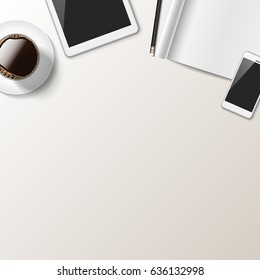 Realistic Desk Mockup - Realistic desk work space, viewed from above. EPS10 file with transparency.