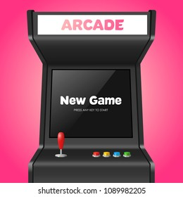 Realistic Detailed 3d Arcade Game Machine with Joystick and Console Recreation Geek Concept. Vector illustration of Virtual Gamble