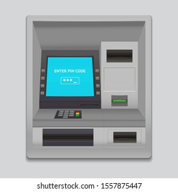 Realistic Detailed 3d Atm Machine Interface Enter Pin Code with Keypad Slot for Credit Card and Currency. Vector illustration of Payment Terminal