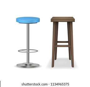 Realistic Detailed 3d Bar Stools Set Different Types Furniture for Bar and Restaurant Interior. Vector illustration of Stool