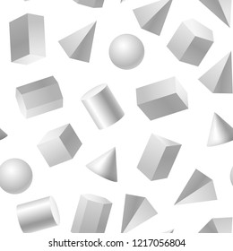 Realistic Detailed 3d Basic Shapes Seamless Pattern Background on a White Include of Cube, Cylinder, Sphere and Cone. Vector illustration
