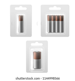 Realistic Detailed 3d Batteries in Blister Empty Template Packed Set for Business. Vector illustration of Battery in Pack