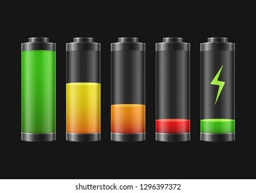 Realistic Detailed 3d Battery Charge Indicators Set on a Black Background Full Power and Empty Concept. Vector illustration