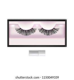 a064961df8e Realistic Detailed 3d Beautiful Black Long False Eyelashes in Package Box  for Makeup. Vector illustration