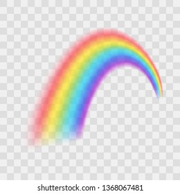 Realistic Detailed 3d Beautiful Rainbow on a Transparent Background Symbol of Fantasy. Vector illustration