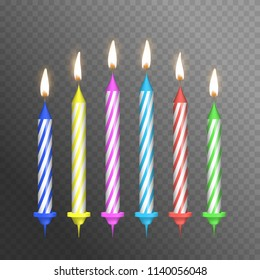 Realistic Detailed 3d Birthday Cake Candles Set on a Transparent Background Symbol of Happy Party. Vector illustration