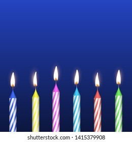 Realistic Detailed 3d Birthday Cake Candles Set Symbol Of Happy Party On A Blue Vector