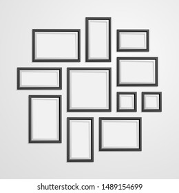 Realistic Detailed 3d Black Blank Photo Frames Empty Template Mockup Set. Vector illustration of Mock Up Framework