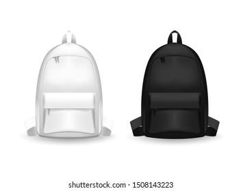 Realistischer, detaillierter 3D-Schwarz-Weiß-Schulrucksack. Leere Vorlage Mock up Set von Rucksack. Vektorgrafik der Mock-Up-Tasche