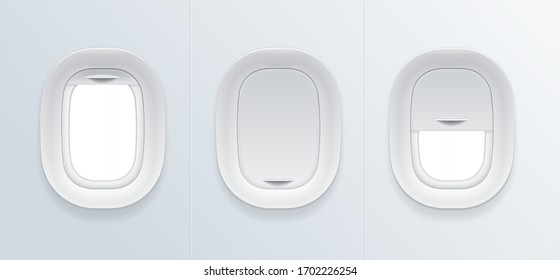 Realistic Detailed 3d Blank Airplane Window Empty Template Mockup Set. Vector illustration of Porthole with Open and Closed Glass