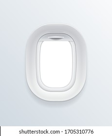 Realistic Detailed 3d Blank Airplane Window Template Mockup with Empty Space Vacation Voyage Concept. Vector illustration