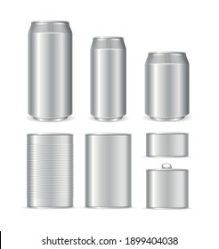 Realistic Detailed 3d Blank Can Packaging Empty Template Mock Up Set. Vector illustration of Metal Cans