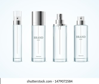 Realistic Detailed 3d Blank Perfume Bottle Empty Template Mockup Set Different Types Opened and Closed View. Vector illustration