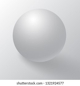 Realistic detailed 3d blank of white round sphere or 3d ball. White round sphere with shadows, half-shadows and reflex. White sphere, ball or orb with dropped shadow on white background.