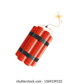 Realistic detailed 3d bunch of red detonate dynamite bomb sticks with a fire flash vector illustration isolated on a white background. TNT weapon before explosion moment.