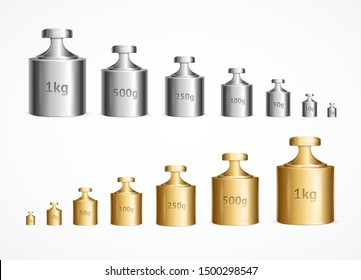 Realistic Detailed 3d Calibration Weight Laboratory Set. Vector illustration of Instrument for Measurement Accuracy Mass