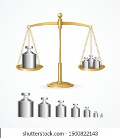 Realistic Detailed 3d Calibration Weight Laboratory and Yellow Scales Set. Vector illustration of Row Mass