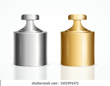 Realistic Detailed 3d Calibration Weight Laboratory Shine Golden and Silver Color Set Closeup View. Vector illustration