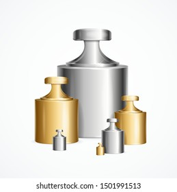Realistic Detailed 3d Calibration Weight Laboratory Set Different Size Accurate Concept. Vector illustration of Precision Standard