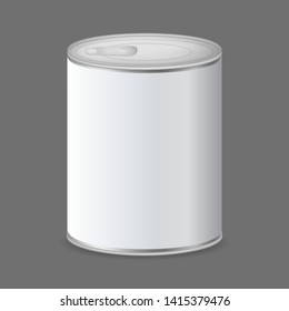 Realistic Detailed 3d Canned Metal Packaging on a Grey Tin Can Container for Food . Vector illustration of Conserve