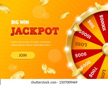 Realistic Detailed 3d Casino Fortune Wheel Jackpot Concept Banner Card Placard for Business. Vector illustration
