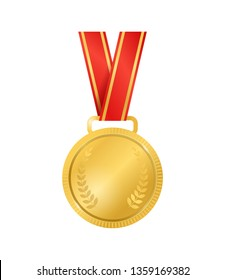 Realistic Detailed 3d Champion Gold Medal Empty Template Symbol of Winner, Champion and Success. Vector illustration