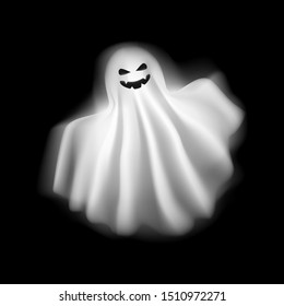 Realistic Detailed 3d Character Funny and Scary Ghost on a Background. Vector illustration of Playful Spirit